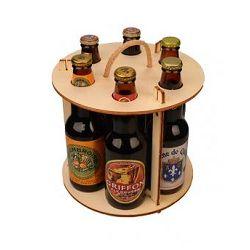 Caisse Bois ronde pour 6 bouteilles bières